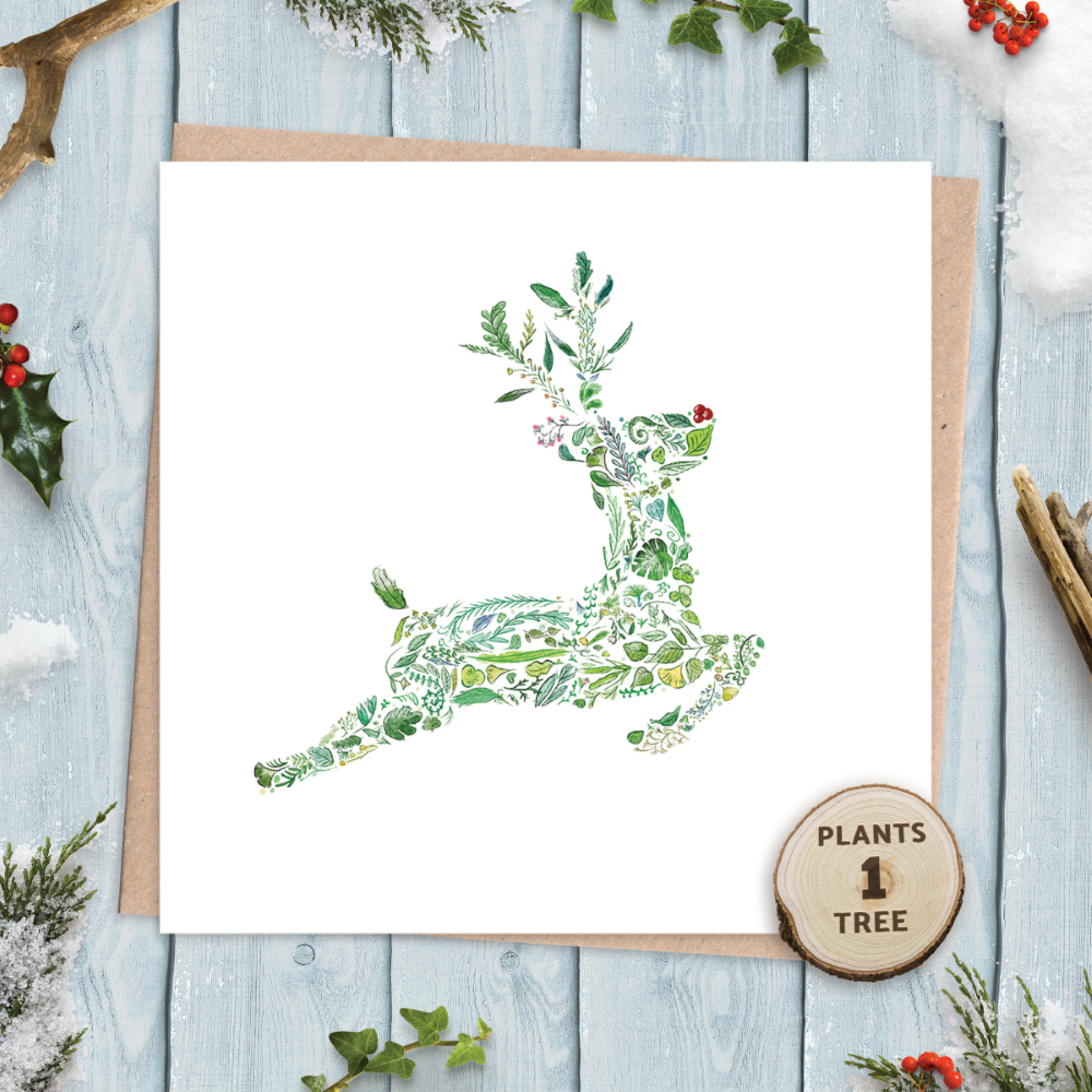 Eco Friendly Christmas Cards with Green Rudolph nature design