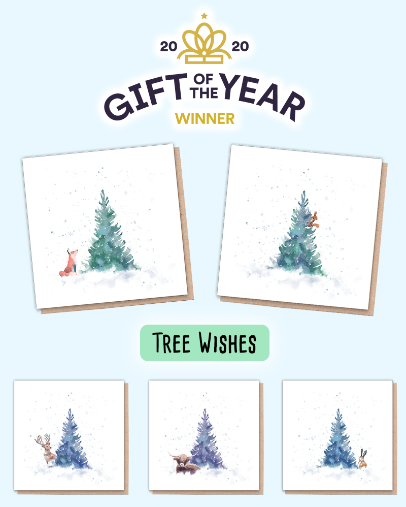 Eco friendly Christmas cards with animals on them. Wildlife Christmas cards show a fir tree & their snowy companion.