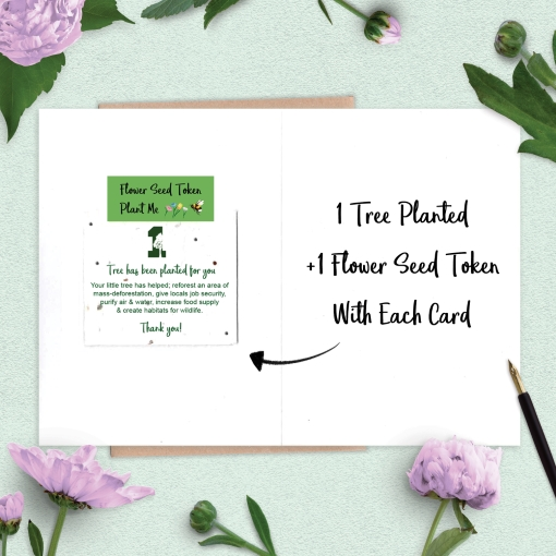 Wholesale cards open to show '1 tree planted' on flower seed token inside.