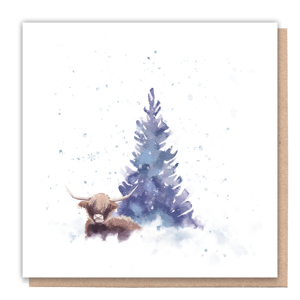 business christmas cards with tree and cow