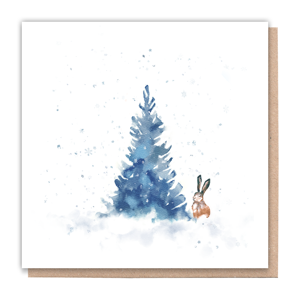 Business Christmas Cards with rabbit & tree