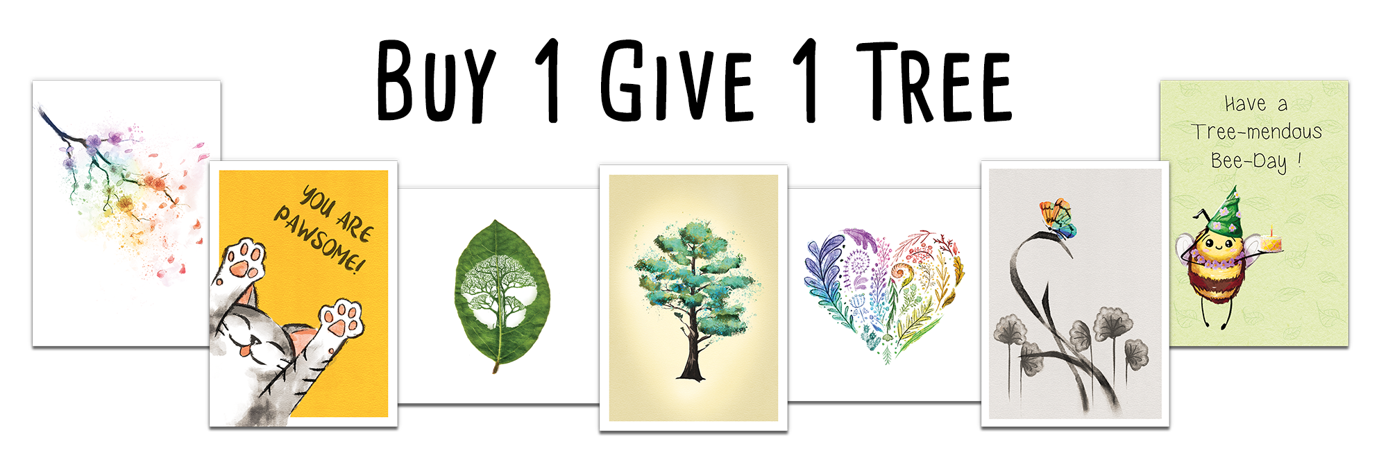 Wholesale greeting cards on a banner. Text above cards says 'Buy 1 Give 1 Tree' to promote eco friendly cards.