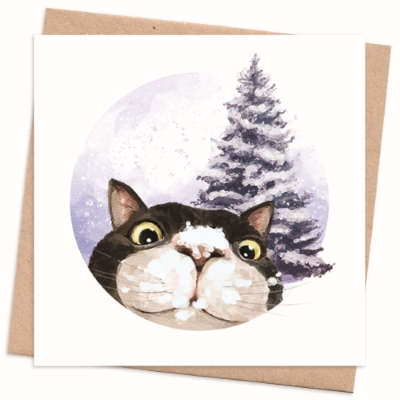 Recycled Christmas Card - Cat Photobomb