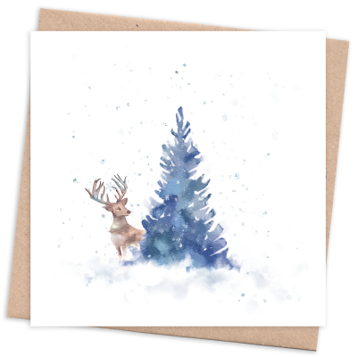 Recycled & Eco Friendly Christmas Card with Tree and Deer