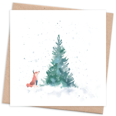 Recycled & Sustainable Card with Tree and Fox