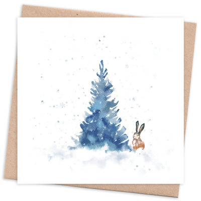 Recycled & Eco Friendly Christmas Card with Tree and Hare