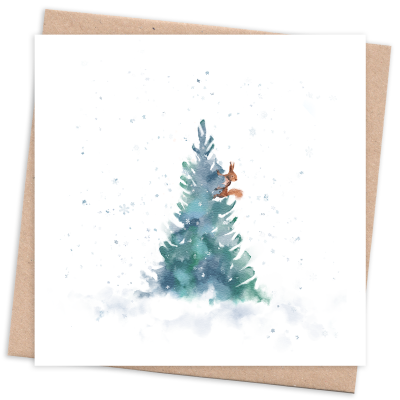 Recycled & Eco Friendly Christmas Card with Tree and Squirrel