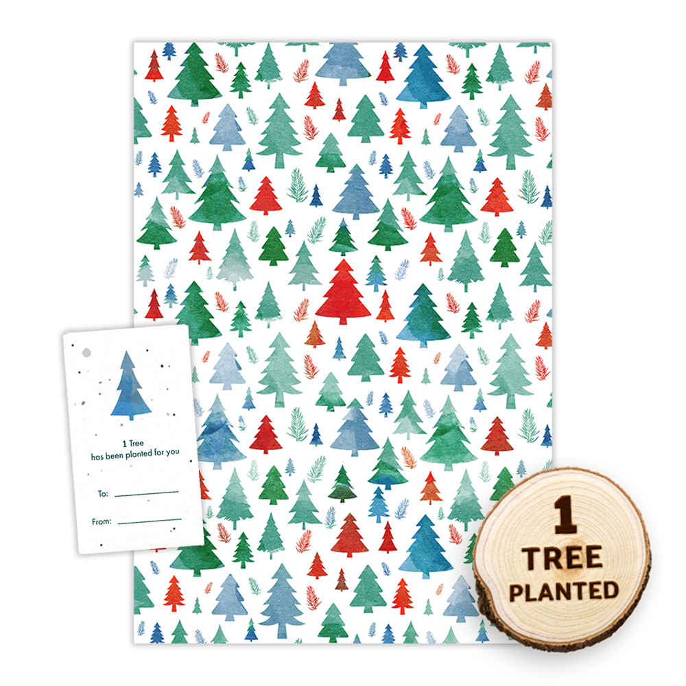 Eco Friendly Christmas Wrapping Paper - Festive Forest Trees