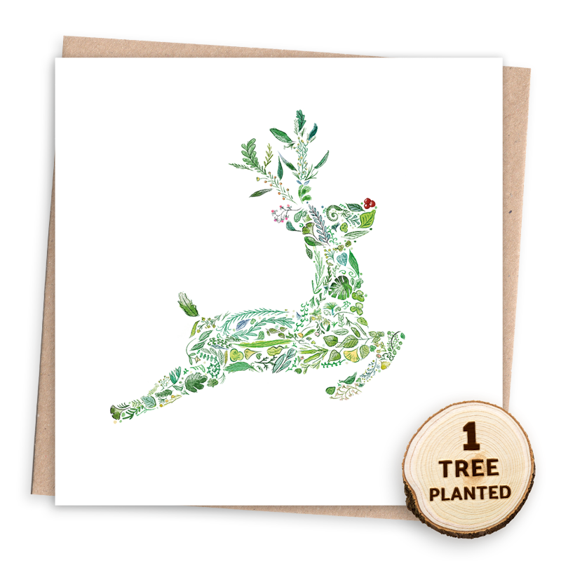 Eco Friendly Christmas Card - Green Rudolph